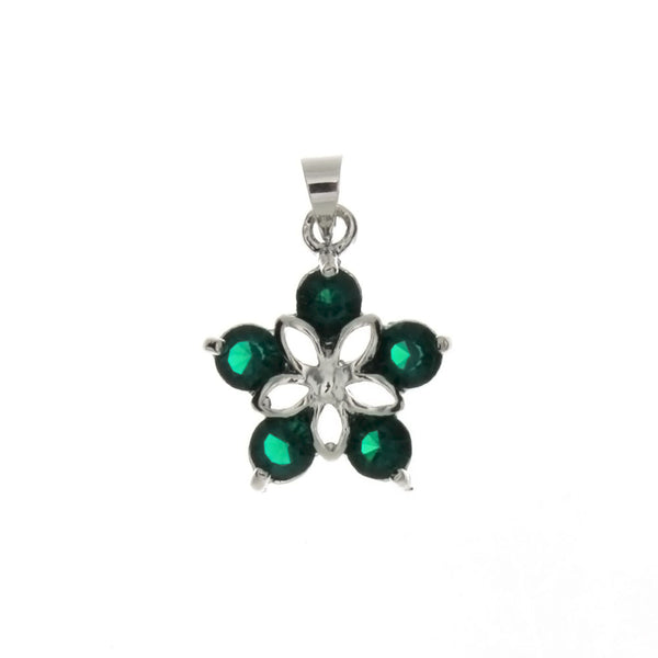 CUBIC ZIRCONIA FLOWER 18 X 20 MM PENDANT