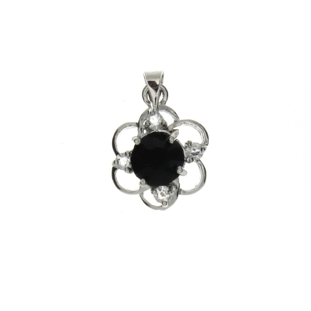 CUBIC ZIRCONIA FLOWER 14 X 19 MM PENDANT