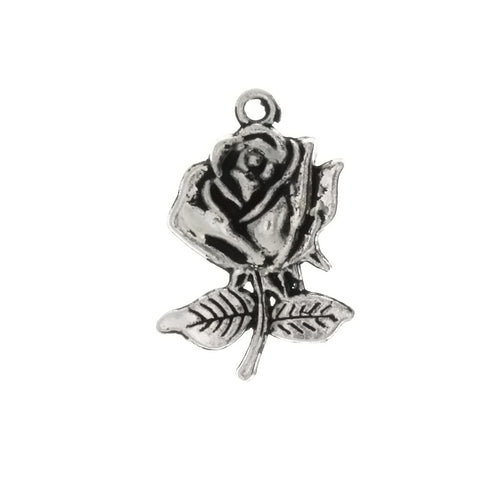 NATURE ROSE 16 X 25 MM PEWTER CHARM