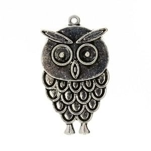 ANIMAL OWL 21 X 36 MM PEWTER CHARM
