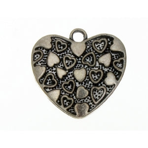 DESIGN HEART 29 MM PEWTER CHARM