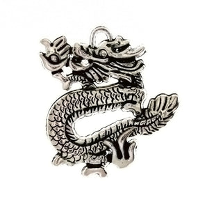 SYMBOL DRAGON 35 X 38 MM PEWTER CHARM