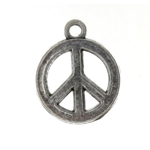 SYMBOL PEACE SIGN 16 MM PEWTER CHARM
