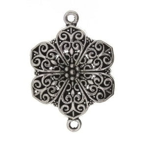 BEAD CONNECTOR CHARM FLOWER 30 X 40 MM PEWTER FINDING