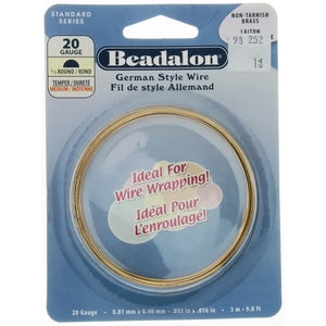 BEADALON 20 GAUGE HALF-ROUND GOLD WIRE (3 M)