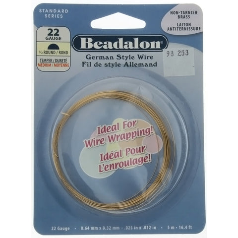 BEADALON 22 GAUGE HALF-ROUND GOLD WIRE (5 M)