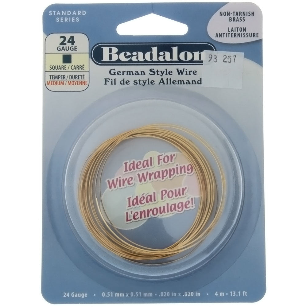 BEADALON 24 GAUGE SQUARE GOLD WIRE (4 M)