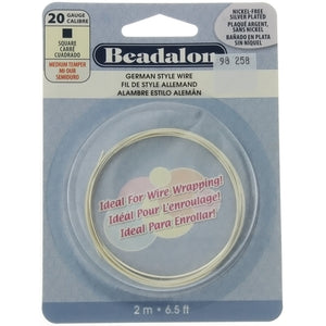BEADALON 20 GAUGE SQUARE SILVER WIRE (2 M)