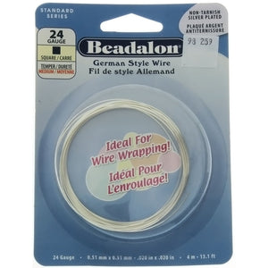 BEADALON 24 GAUGE SQUARE SILVER WIRE (4 M)