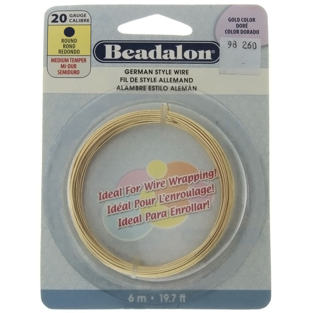 BEADALON 20 GAUGE ROUND GOLD WIRE (6 M)