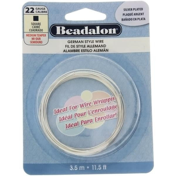 BEADALON 22 GAUGE SQUARE SILVER WIRE (3.5 M)