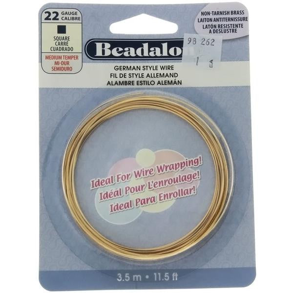 BEADALON 22 GAUGE SQUARE GOLD WIRE (3.5 M)