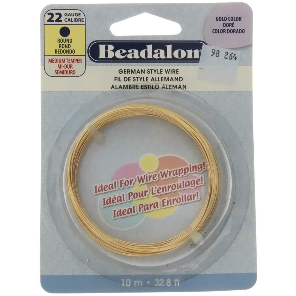 BEADALON 22 GAUGE ROUND GOLD WIRE (10 M)