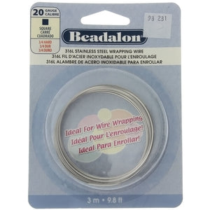 BEADALON 20 GAUGE SQUARE STAINLESS WIRE (3 M)