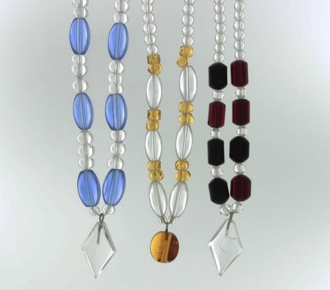 BEADED GLASS W/ DIAMOND NECKLACE (3)