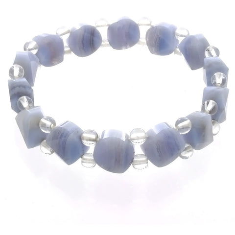 STRETCH GEMSTONE BLUE LACE AGATE COIN FACETED BRACELET