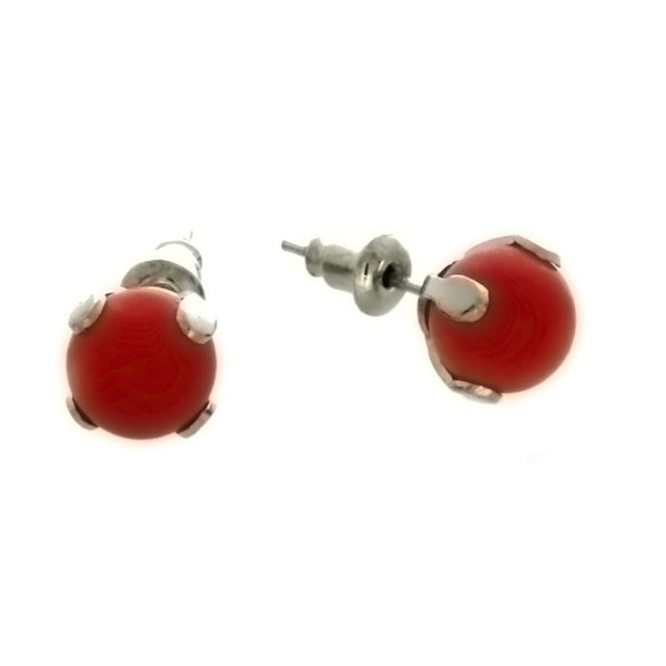 STUD BALL RED CORAL EARRINGS