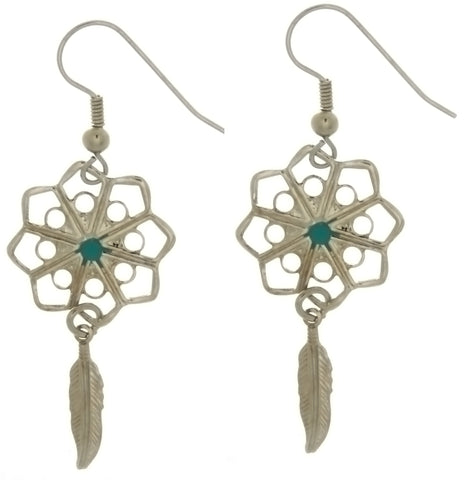 DANGLE DREAMCATCHER & FEATHER W/ TURQUOISE EARRINGS