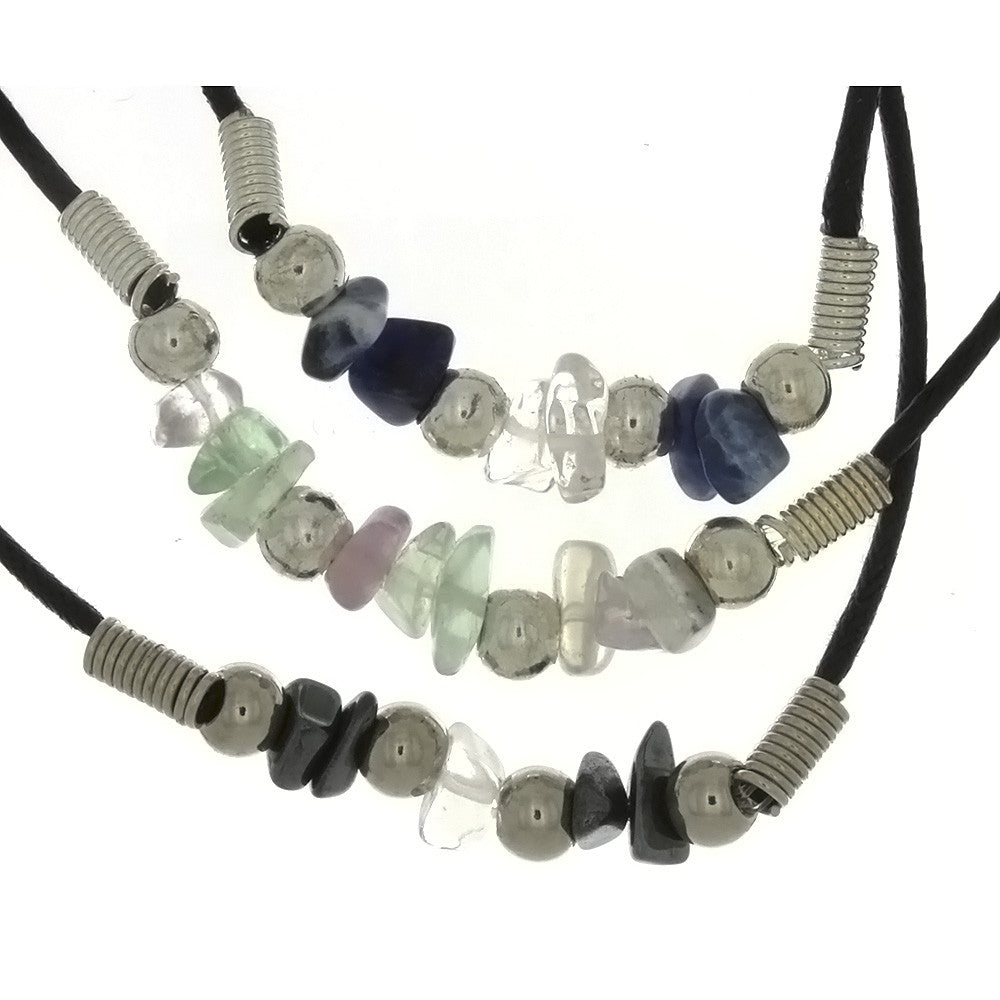 CORDED GEMSTONE VARIOUS CHIP NECKLACE (3)