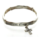 STRETCH CHARM CROSS & MESSAGE BRACELET