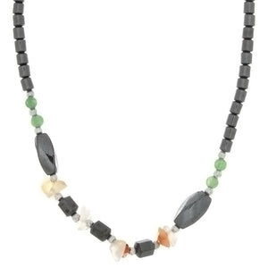 BEADED GEMSTONE HEMATITE W/ SHAPE NECKLACE (6)