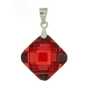 CZ Diamond Red 15 X 15 mm Pendant