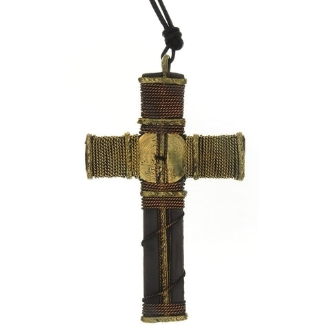 CORDED CHARM CROSS NECKLACE