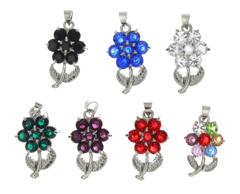 CUBIC ZIRCONIA FLOWER 14 X 22 MM PENDANT