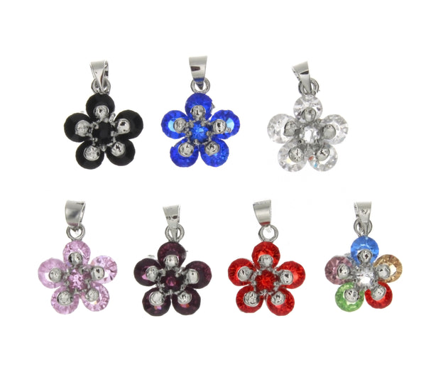 CUBIC ZIRCONIA FLOWER 13 X 16 MM PENDANT