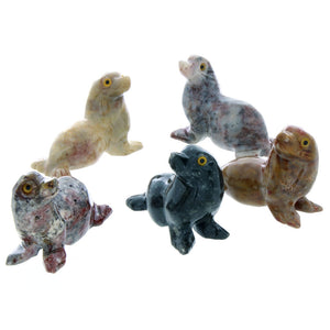 ANIMAL SEAL SOAPSTONE CARVING (3)