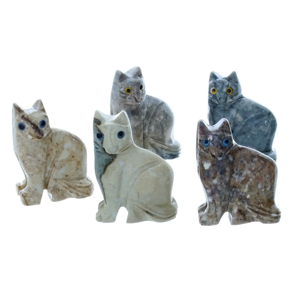 ANIMAL CAT SITTING SOAPSTONE CARVING (3)