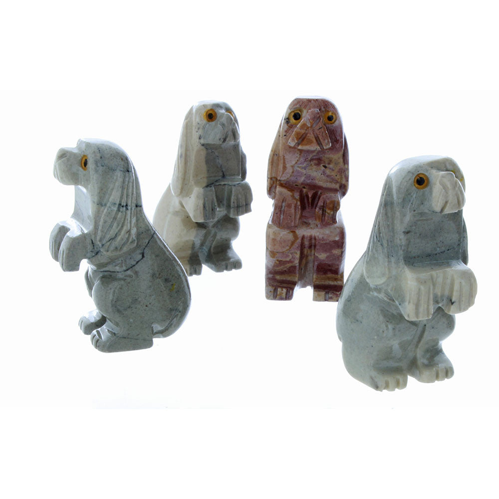ANIMAL DOG STANDING SOAPSTONE CARVING (3)