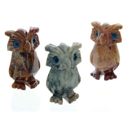 ANIMAL OWL NO-TAIL SOAPSTONE CARVING (3)