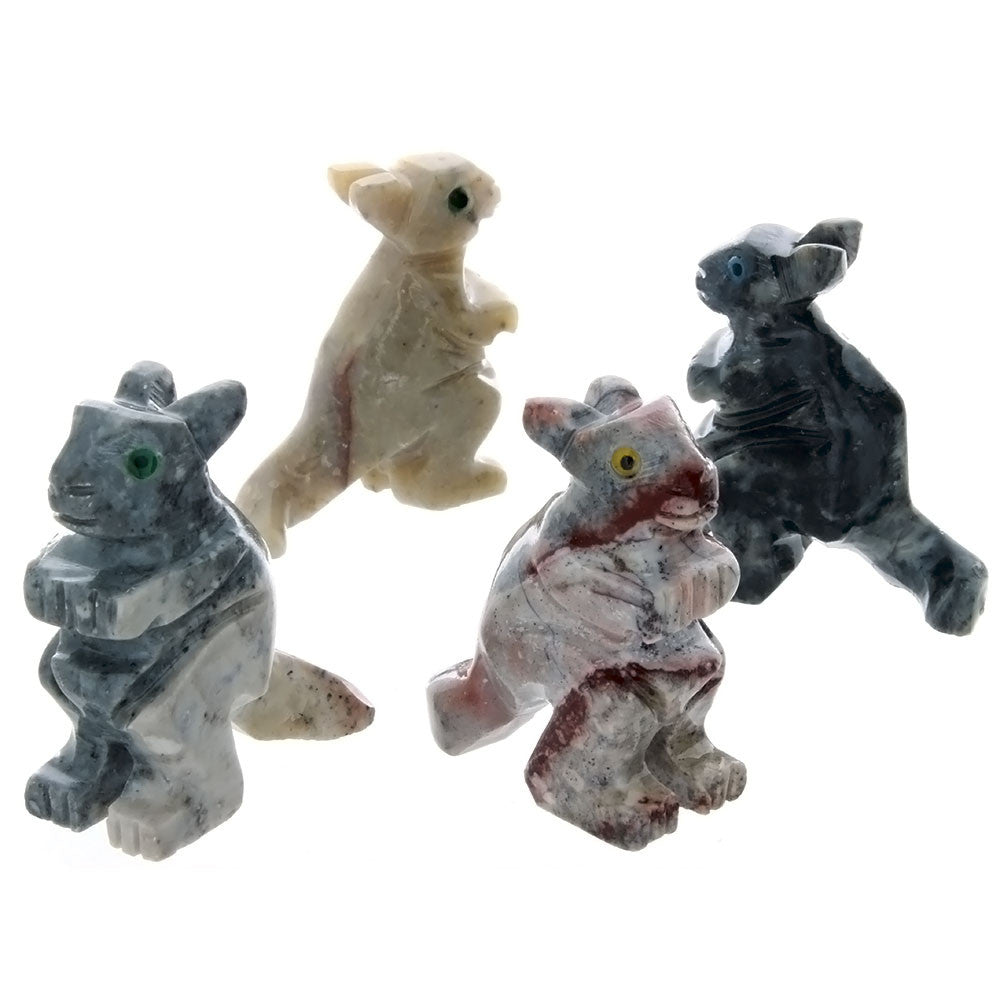 ANIMAL KANGAROO SOAPSTONE CARVING (3)