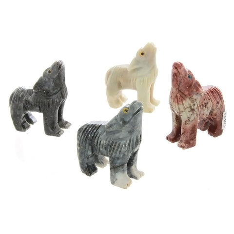 ANIMAL WOLF SOAPSTONE CARVING (3)