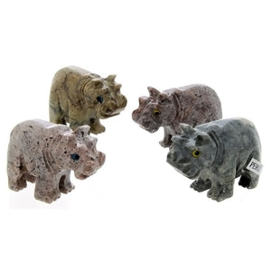 ANIMAL HIPPOPOTAMUS SOAPSTONE CARVING (3)