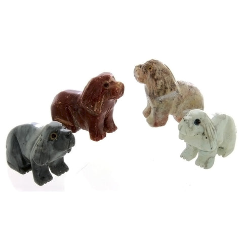 ANIMAL DOG SITTING SOAPSTONE CARVING (3)