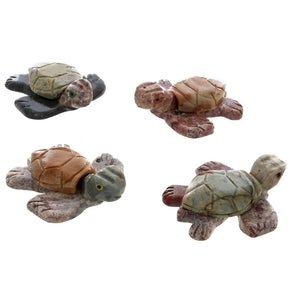ANIMAL TURTLE SWIMMING SOAPSTONE CARVING (3)