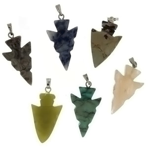 PENDANT GEMSTONE 25 MM ARROWHEAD (6)