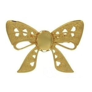 BROOCH CABOCHON BOW 8 X 10 MM FINDING