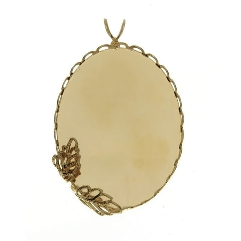 CABOCHON FRAMED LACE W/ LEAF 30 X 40 MM PENDANT