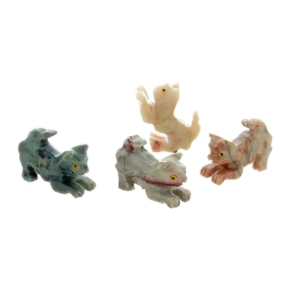 ANIMAL CAT PLAYING SOAPSTONE CARVING (3)