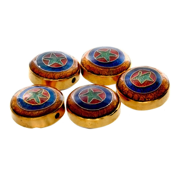 CLOISONNE COIN STAR 5 X 11 X 20 MM LOOSE (5 PC)