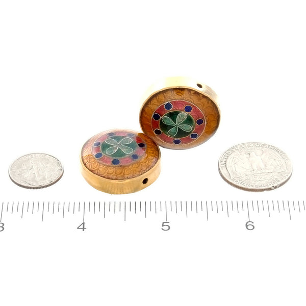 CLOISONNE COIN CROSS 6 X 11 X 26 MM LOOSE