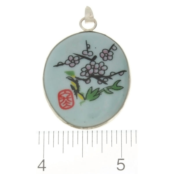 PORCELAIN CHERRY BLOSSOM OVAL 29 X 35 MM PENDANT