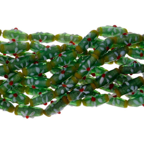 Bali Lamp glass Bead Tube 8 x 20 mm with 2 mm Hole Tapered Trans Peridot Base with Green Band and White Flowers