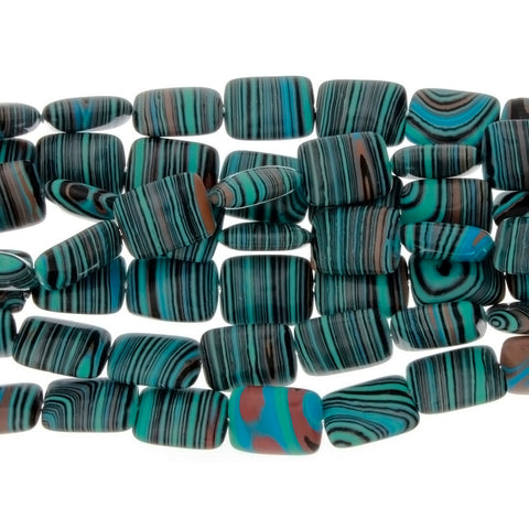 CALSILICA TEAL RECTANGLE 12 X 16 MM STRAND