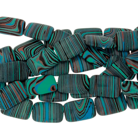 CALSILICA TEAL RECTANGLE 19 X 29 MM STRAND