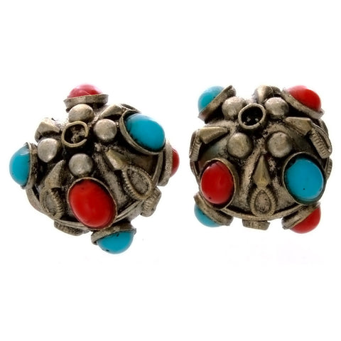INDIA ROUND 22 MM SILVER W/ CORAL & TURQUOISE BEAD (2)