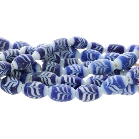 Bali Lamp Glass Blue and White Feather Pattern 13 x 20 mm Approx, 3 mm Hole Matte Finish Approx, 25 per Beads Strand